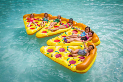 Pizza Floating at Camp Louise