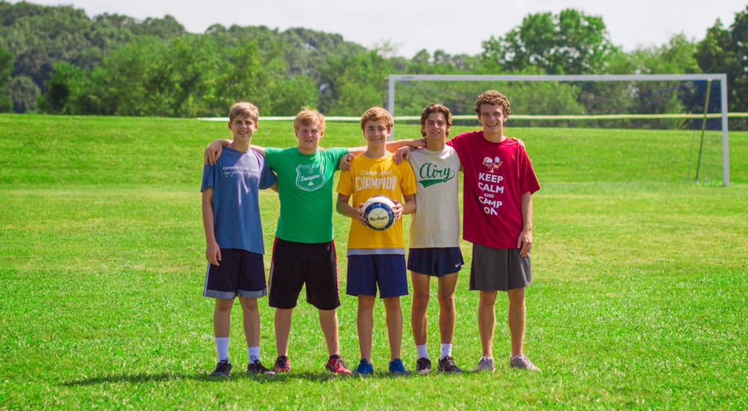 Airy boys with soccer ball