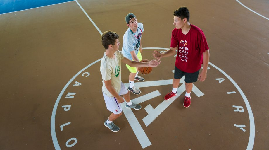 Airy campers playing basketball