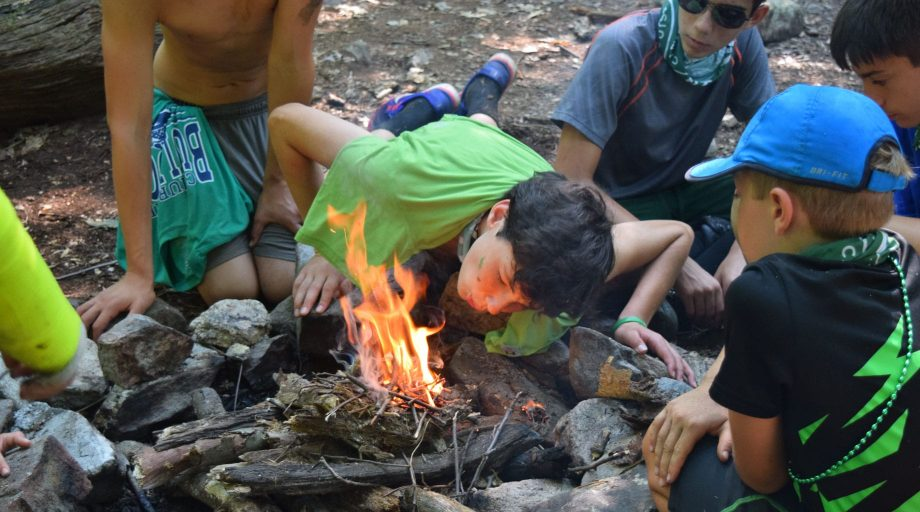 Campers making a fire