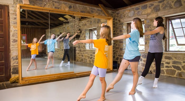 Girls practicing dance in the mirror