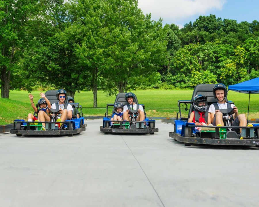 Camp Airy boys go-kart racing