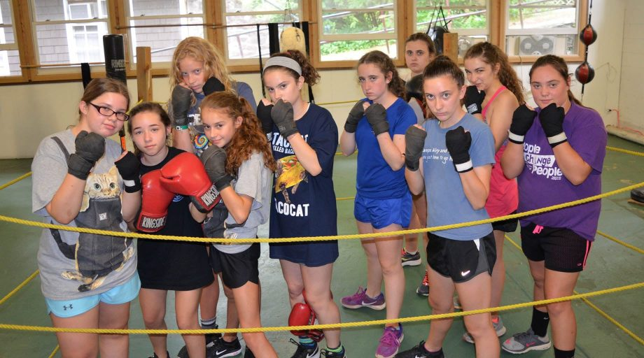 Group of campers boxing