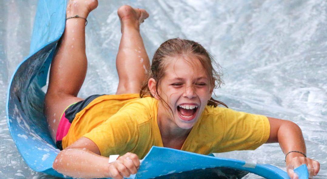 Louis camper on slip-n-slide