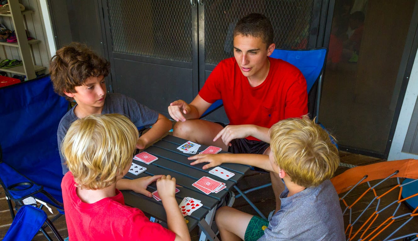 Airy campers playing cards