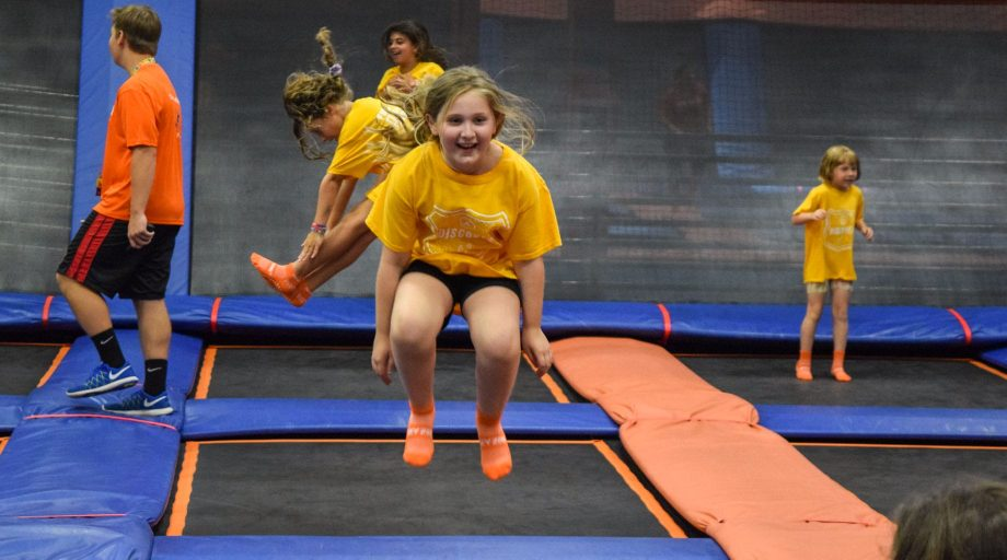 Girls bouncing at trampoline park