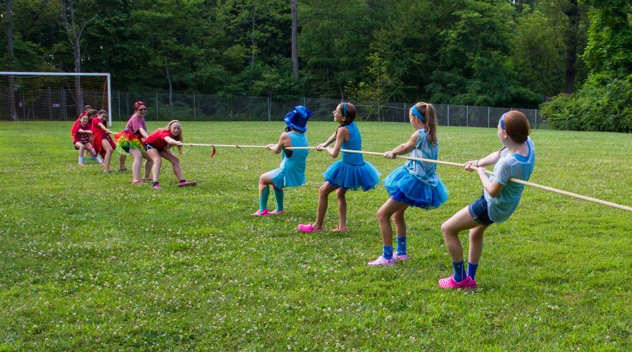 Louise campers competing in tug of war