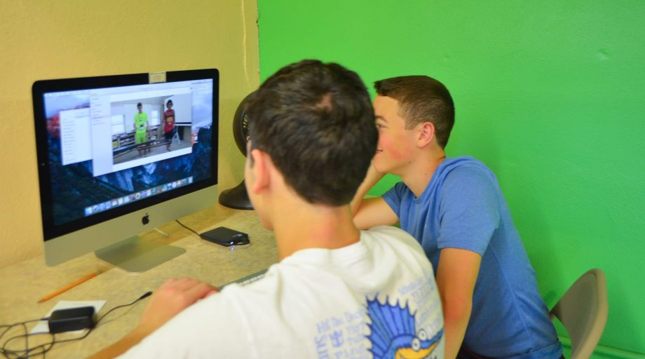 Campers learning video production