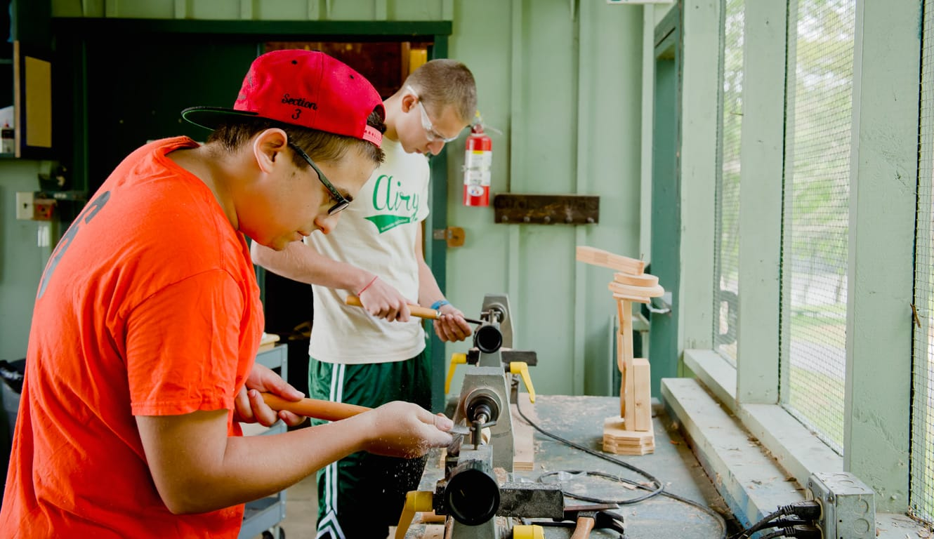 Boys at woodworking